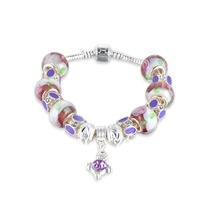 Hot Sell 925 Silver European Charm Bracelet Bangle for Women with PURPLE Murano Glass Beads Fashion Love DIY Jewelry PAN4-4