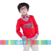 CHildren School Uniform Boys Shirt Style Tshirts Fake 2pcs Tops with Shirt Collar,Free Shipping K5245