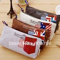 48 Pcs / Lot New Flag Wind Canvas Pencil Bag  Pencil Pouch Pen Case