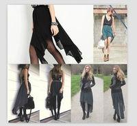 Women New Hot Polychrome Fashion Sexy Irregular Chiffon Skirt free shipping