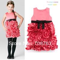 Summer Clothing Sleeveless Flower Rose Princess Dress For 1-5 Year Baby Kids Girls Wholesale 5pcs/lot