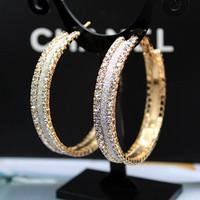 Fashion elegant earrings ultralarge scrub full rhinestone fashion big circle hoop earrings wild