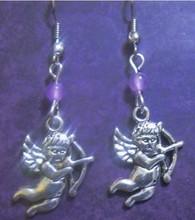 Free Shipping Fashion Hot 50 Pair Antique Silver Retro Cupid Cherub Earrings Alloy Pendants DIY Metal