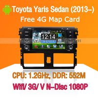 Android Toyota Yaris Sedan Car DVD Player GPS Navi 3G Wifi Bluetooth Touch Screen USB SD support Virtual N Disc 1080P HD
