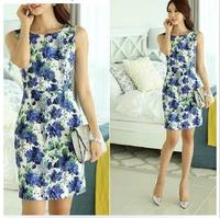 2014 summer women temperament short-sleeved Sleeveless Slim flower print dress plus size casual high street vintage work dress