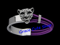 Free Shipping Stainless Steel Bangles Crystal Silver Leopard Head Top Quality Original Package (Dust Bag,Gift Box)#CR19