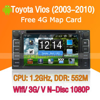Android Toyota Vios Car DVD Player GPS Navi 3G Wifi Bluetooth Touch Screen USB SD support Virtual N Disc 1080P HD