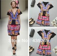 2014 Spring Summer Hot Fashion Vintage Flower Print Silk Novelty Dress Women V Neck Short Sleeve Top Quality Dress free shipping