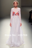 2014 Spring Long Sleeve Lace Embroidery Chiffon Maxi dress Bridesmaid Dresses White Black Red