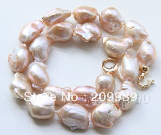 huij 002751 WOW! BIG 22mm Natural pink Baroque Reborn Keshi pearls necklace(China (Mainland))