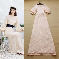 European Maxi Dress 2014 Fashion Spring And Summer Fairy Full Dress Back V-neck Elegant One-piece Dress 3 Colors  F15621