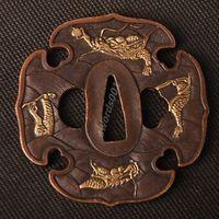Details about Samurai sword Japanese katana wakizashi nice gold& silver tsuba hand guard 027