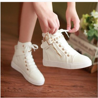 2014 rivet high top woman  canvas shoes flat casual student sneakers  female