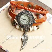 B005-2014 New Hot Bronze Vintage  Wings pendant hour Ladies Quartz Watches Leather strap  Hand-woven bracelet Casual watch