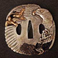 Details about Samurai sword Japanese katana wakizashi nice gold& silver tsuba hand guard 035