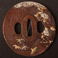Details about Samurai sword Japanese katana wakizashi nice gold& silver tsuba hand guard 011