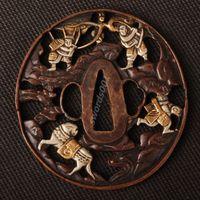 Details about Samurai sword Japanese katana wakizashi nice gold& silver tsuba hand guard 033