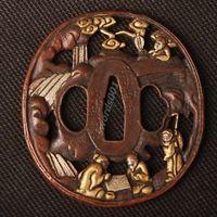 Details about Samurai sword Japanese katana wakizashi nice gold& silver tsuba hand guard 018