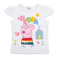 FREE SHIPPING K4079# Nova kids wear peppa pig girls' summer t-shirt