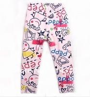 FREE SHIPPING 18m-6y Nova kids wear baby girls autumn/spring peppa pig pants fashion girls lovely long legging with print G4219