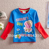 FREE SHIPPING A3213# kids wear boys hot Peppa Pig appliqued cotton sweater top long sleeve t-shirt