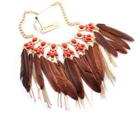 Min order $10 free shipping fashion accessories vintage feather matt gold short design necklace fu