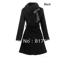 Women Jacket Wool Winter Long Coat With Belt Bouble Breast Coats And Jackets Free Shipping Wholesales + Drop Ship 5916
