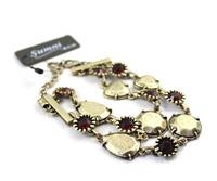 Min order $10 free shipping fashion accessories khaki vintage multi-layer gold sparkling crystal bracelet if