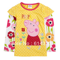 Free shipping Nova 100% cotton children wear clothing long sleeve autumn -summer T-shirts embroidery peppa pig for girls F4340#
