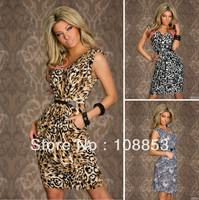 New Fashion Vestidos De Festa Women Leopard Print Sleeveless Knee-Length Dress Vintage Summer Casual Dress Sexy Club Dress 0455