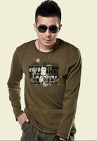 Men t-shirt outdoor o-neck long-sleeve Army Green fashionable casual shirt ct0055n
