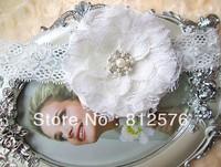"Newborn Lace headband 4"" Big lace mesh flower headband Flower with pearl rhinestone headband 25pcs/lot design by love-baby"