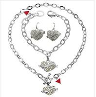2014 New! Fashion Brand crystal Rhinestone Heart jewelry set, heart bracelet, heart earring, heart Pendant Necklace for women