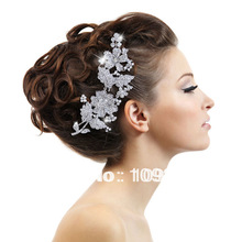 Vintage Style Big 6″ Wedding Hair Comb Tiara Clear Flower Made with Swarovski Elements Crystal Free Shipping