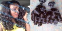"6A quality 3pcs/lot natural color virgin peruvian bouncy curl aunty funmi hair Free shipping 8-28"" Mix length"