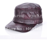 Korean version of the thin section first layer of leather men's new high-end men's leather hat leather hat warm ear