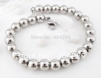 "Women Men's 8mm Solid 316L Stainless Steel Round Bead Chain Bracelet 7-9"""