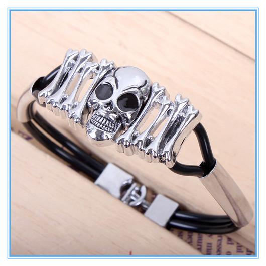Ancient Ethnic Jewelry Pulseras Magnetic Skull and Bone Bracelet Men Braclet Set WB314(China (Mainland))