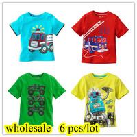 Wholesale 1 lot = 6 pieces  2014 New Children T-shirt boys Tees Short sleeve shirts Summer Kids Tops Cartoon Baby Cotton tees