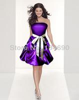 free ship,drak purple satin party gown ,bridesmaid dress,short dress