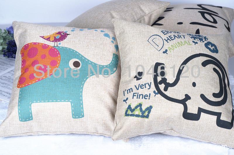 2 pcs moda de nova novidade adorável elefante de circo fronhas macio e confortável personalizado capa de almofada almofadas PY005(China (Mainland))