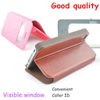 Free Shipping (5pcs/lot) Top Quality Series Visible window leather case for Huawei G606 case