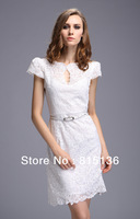 FREE SHIPPING 2014 summer new arrival exquisite lace Embroidery short-sleeved Slim Dress With Belt  WHITE,RED,BLACK