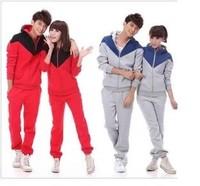 Hot!  2014 new casual hooded cardigan sweater lovers lovers pants sportswear suit Sweatshirts Hoodies  Sweatshirts 2 Piece sets