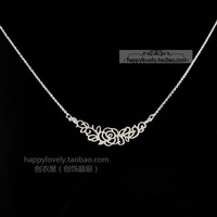 925 pure silver jewelry women's cutout rose silver necklace chain