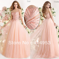 New Arrival 2014 Tarik Ediz Sexy A Line Intricate Crystal Beadings Custom made Pink Tulle Formal Long Prom Dresses