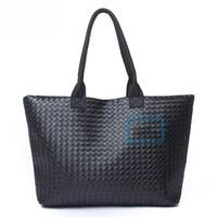 High Quality Faux Leather Weave Women Men Handbag Unisex Fashion Woven Tote Bag Black
