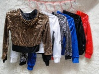 Jazz Hip-hop DS Stage Costumes Sequined Long-sleeved Hooded Jacket Costumes Short Jacket