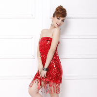 2014 women's fashion sexy tube top slim hip  costumes one-piece dress  5207