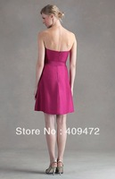 2014 New Style Shangtung Strapless Criss-Cross Sweetheart Neckline A-Line Bridesmaid Dress